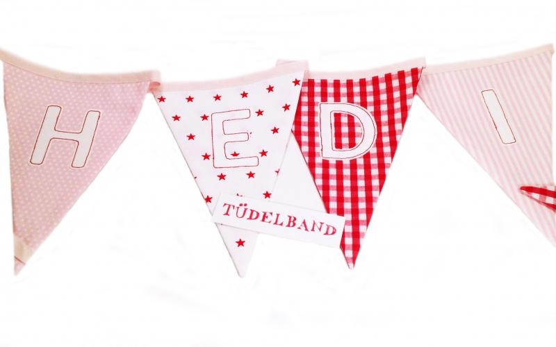 Kleinesbild - Wimpelkette Girlande mit 10 Wimpeln...rote Sterne ★...rosa...rot...