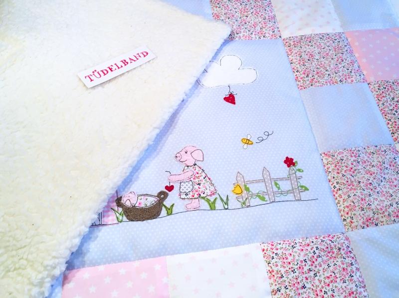 Kleinesbild - Babydecke...Gartenglück...♡...helblau...geblümt...rosa...