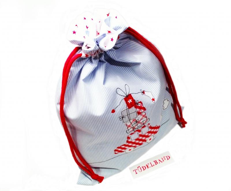 Kleinesbild - Turnbeutel Geschenkebeutel...Auto mit Geschenken...★... hellblau...rot