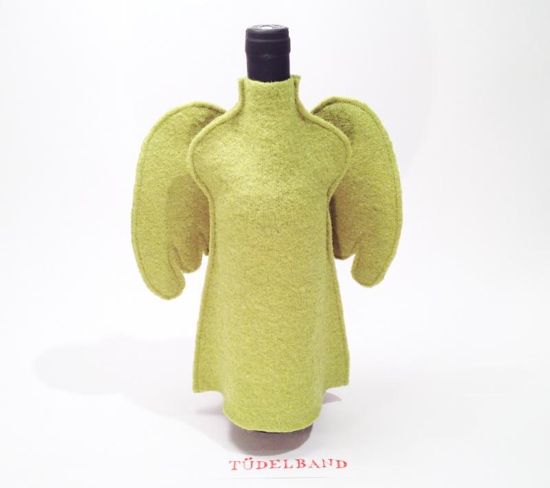 Kleinesbild - Flaschenengel...Flaschenkleid...★... grün...Wolle...