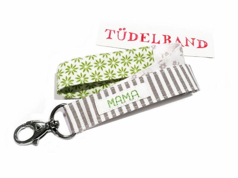 Kleinesbild - Schlüsselband ...kleines Tüdelband...hellgrau...grün...weiß...
