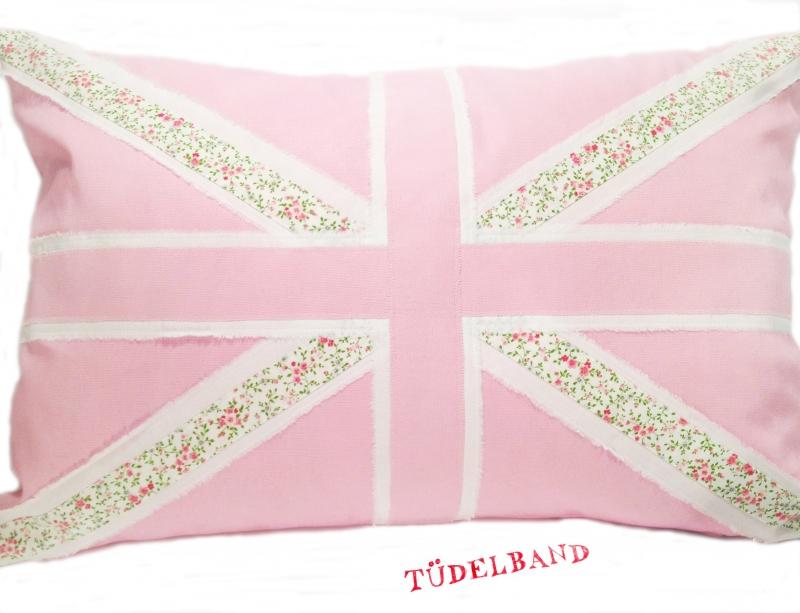 - Kissen...Union Jack...★... rosa...geblümt...weiß... - Kissen...Union Jack...★... rosa...geblümt...weiß...