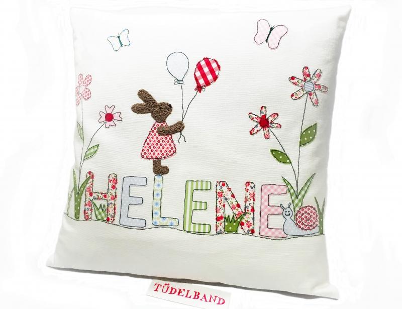 Kleinesbild - Kissen...Frühlingswiese...♡...  Häschen...cremeweiß...geblümt...