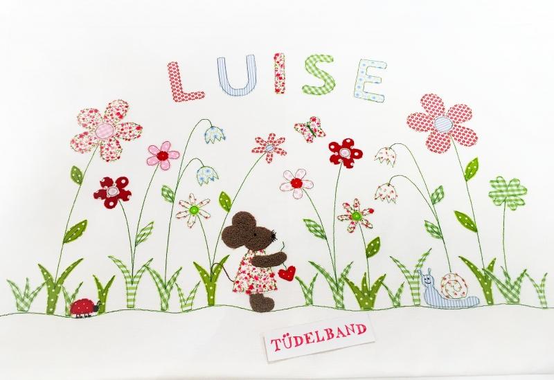 Kleinesbild - Kissen Namenskissen...Sommerwiese...♡... Maus...cremeweiß...geblümt...