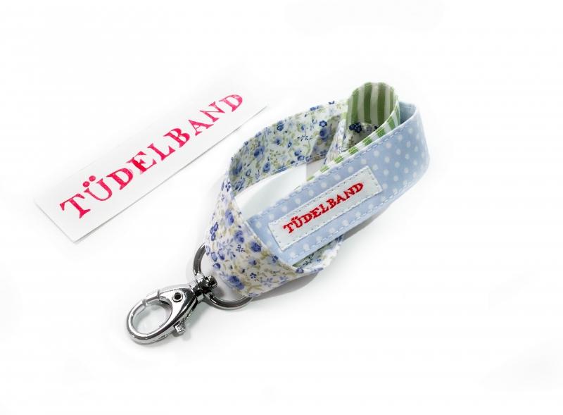 - Schlüsselband...kleines Tüdelband...hellblau...geblümt...grün...   - Schlüsselband...kleines Tüdelband...hellblau...geblümt...grün...
