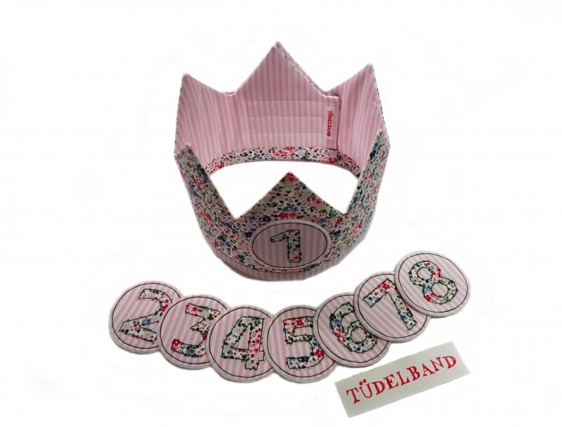 Kleinesbild - Krone Geburtstagskrone...die Wendekrone...  rosa...geblümt