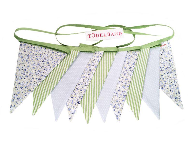 - Wimpelkette Girlande mit 10 Wimpeln  ...grün...hellblau...geblümt... - Wimpelkette Girlande mit 10 Wimpeln  ...grün...hellblau...geblümt...