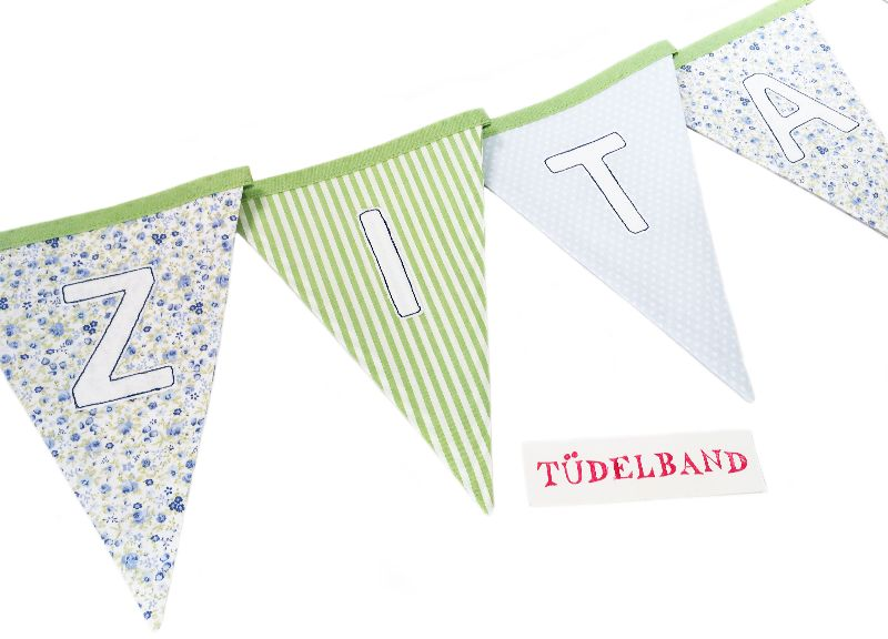 Kleinesbild - Wimpelkette Girlande mit 10 Wimpeln  ...grün...hellblau...geblümt...