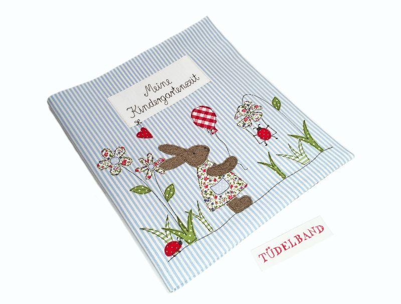 Kleinesbild - Kindergartenordnerhülle Portfolio ...kleine Blumenwiese... hellblau...geblümt...Häschen