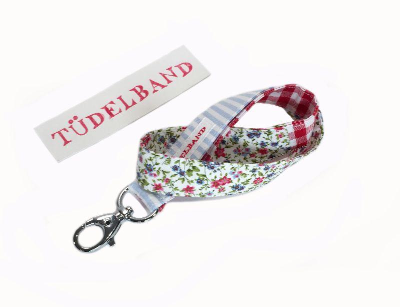 Kleinesbild - Schlüsselband...kleines Tüdelband...hellblau...geblümt...rot...