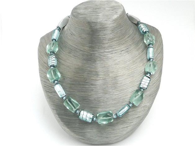 schmuck halskette aquablau venedig murano glas perlenkette. Black Bedroom Furniture Sets. Home Design Ideas