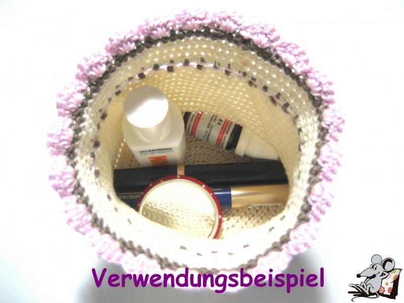 Kleinesbild - Pompadour-Beutel gehäkelt mit Blüte (254-1) ♥Mäusewerkstatt♥