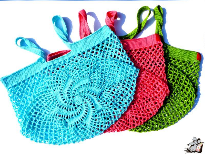 Kleinesbild - Einkaufsnetz *swirl* Markttasche Einkaufsbeutel Strandtasche *Zero Waste* gehäkelt *silber* 100% Baumwolle ♥Mäusewerkstatt♥