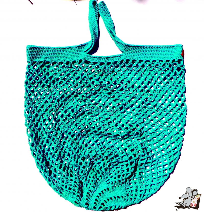 Kleinesbild - Einkaufsnetz *swirl* Markttasche Einkaufsbeutel Strandtasche *Zero Waste* gehäkelt *jade* 100% Baumwolle ♥Mäusewerkstatt♥