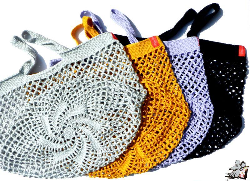Kleinesbild - Einkaufsnetz *swirl* Markttasche Einkaufsbeutel Strandtasche *Zero Waste* gehäkelt *creme* 100% Baumwolle ♥Mäusewerkstatt♥