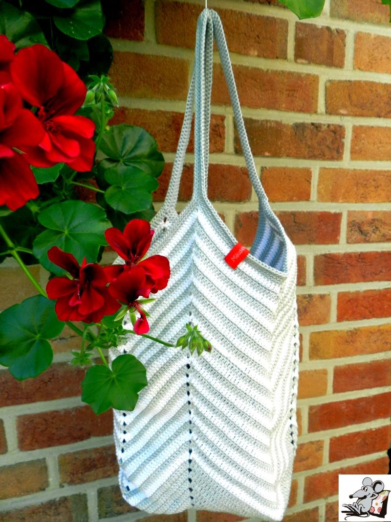 Kleinesbild - Markttasche Einkaufsbeutel Strandtasche *Zero Waste* gehäkelt *chevron silber-weiß* 100% Baumwolle ♥Mäusewerkstatt♥