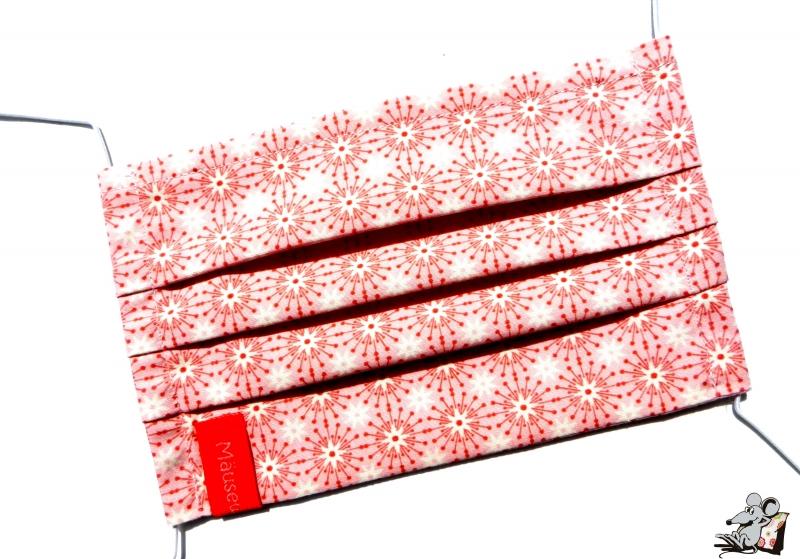 Kleinesbild - Behelfsmaske mit biegsamen Nasenteil waschbar 100% Baumwolle Gesichtsmaske *Kreise* rosa ♥Mäusewerkstatt♥