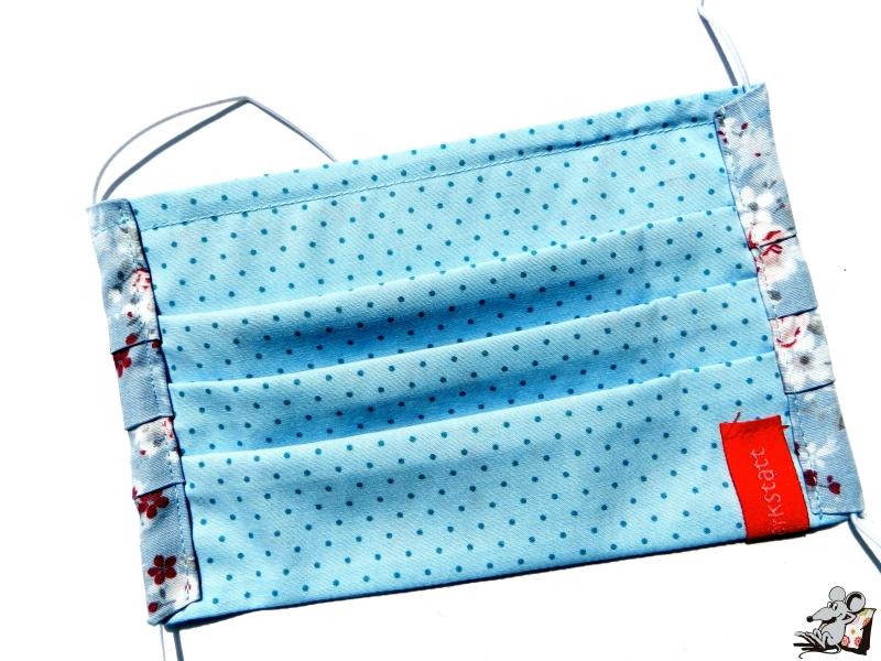 Kleinesbild - Behelfsmaske mit biegsamen Nasenteil waschbar 100% Baumwolle Gesichtsmaske *Röschen rosa* auf blaugrau ♥Mäusewerkstatt♥
