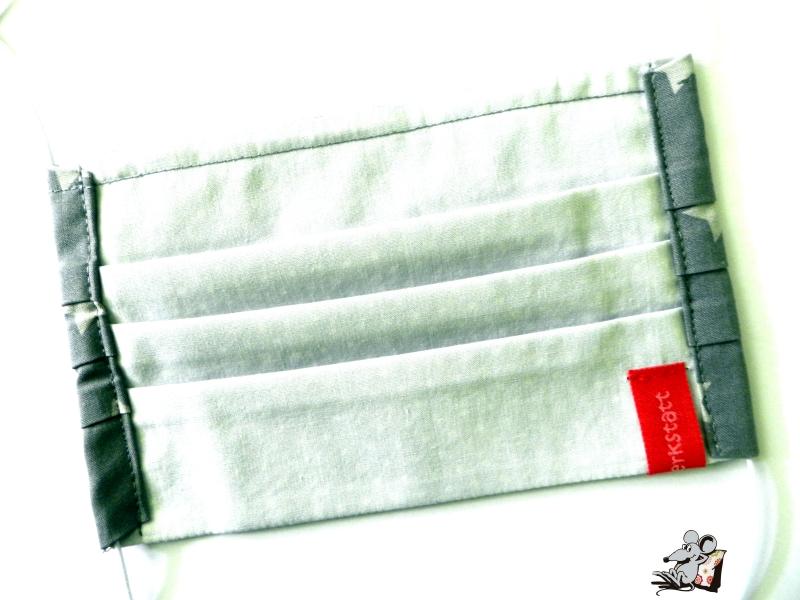 Kleinesbild - Behelfsmaske mit biegsamen Nasenteil waschbar 100% Baumwolle Gesichtsmaske *Sterne* dunkelgrau ♥Mäusewerkstatt♥