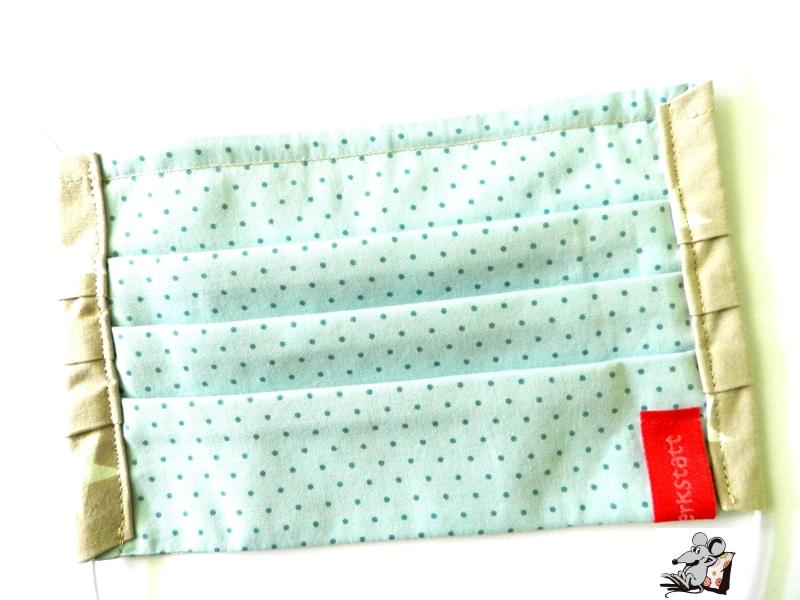 Kleinesbild - Behelfsmaske mit biegsamen Nasenteil waschbar 100% Baumwolle Gesichtsmaske *Sterne* sand ♥Mäusewerkstatt♥