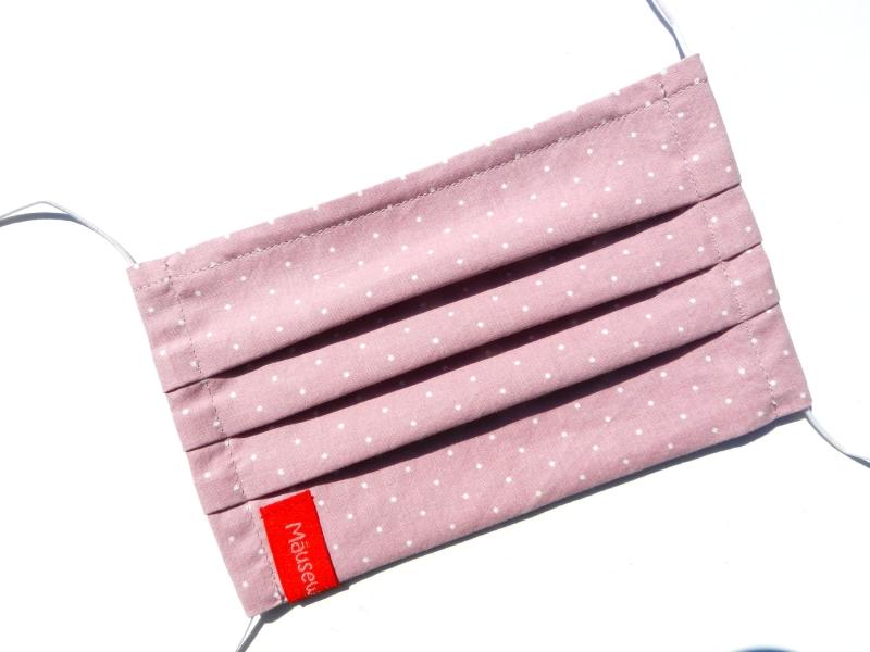 Kleinesbild - Behelfsmaske mit biegsamen Nasenteil waschbar 100% Baumwolle Gesichtsmaske *Pünktchen* altrosa ♥Mäusewerkstatt♥