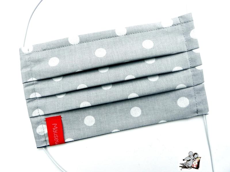 Kleinesbild - Behelfsmaske mit biegsamen Nasenteil waschbar 100% Baumwolle Gesichtsmaske *Punkte* hellgrau ♥Mäusewerkstatt♥