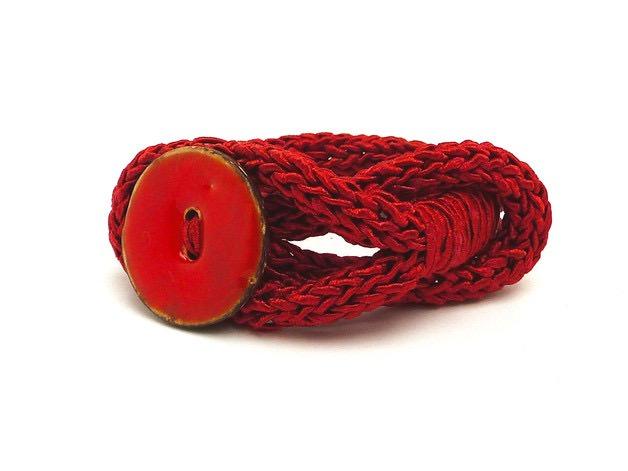 - Handgefertigt Armband Knopf Unikat Seide Cotton - Handgefertigt Armband Knopf Unikat Seide Cotton