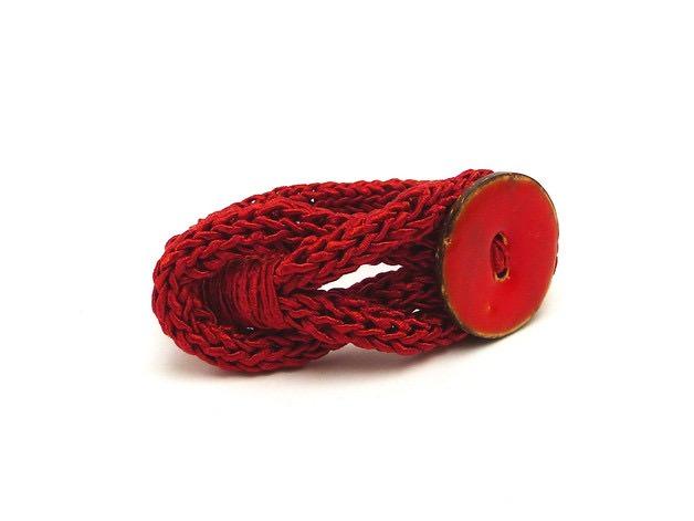 Kleinesbild - Handgefertigt Armband Knopf Unikat Seide Cotton