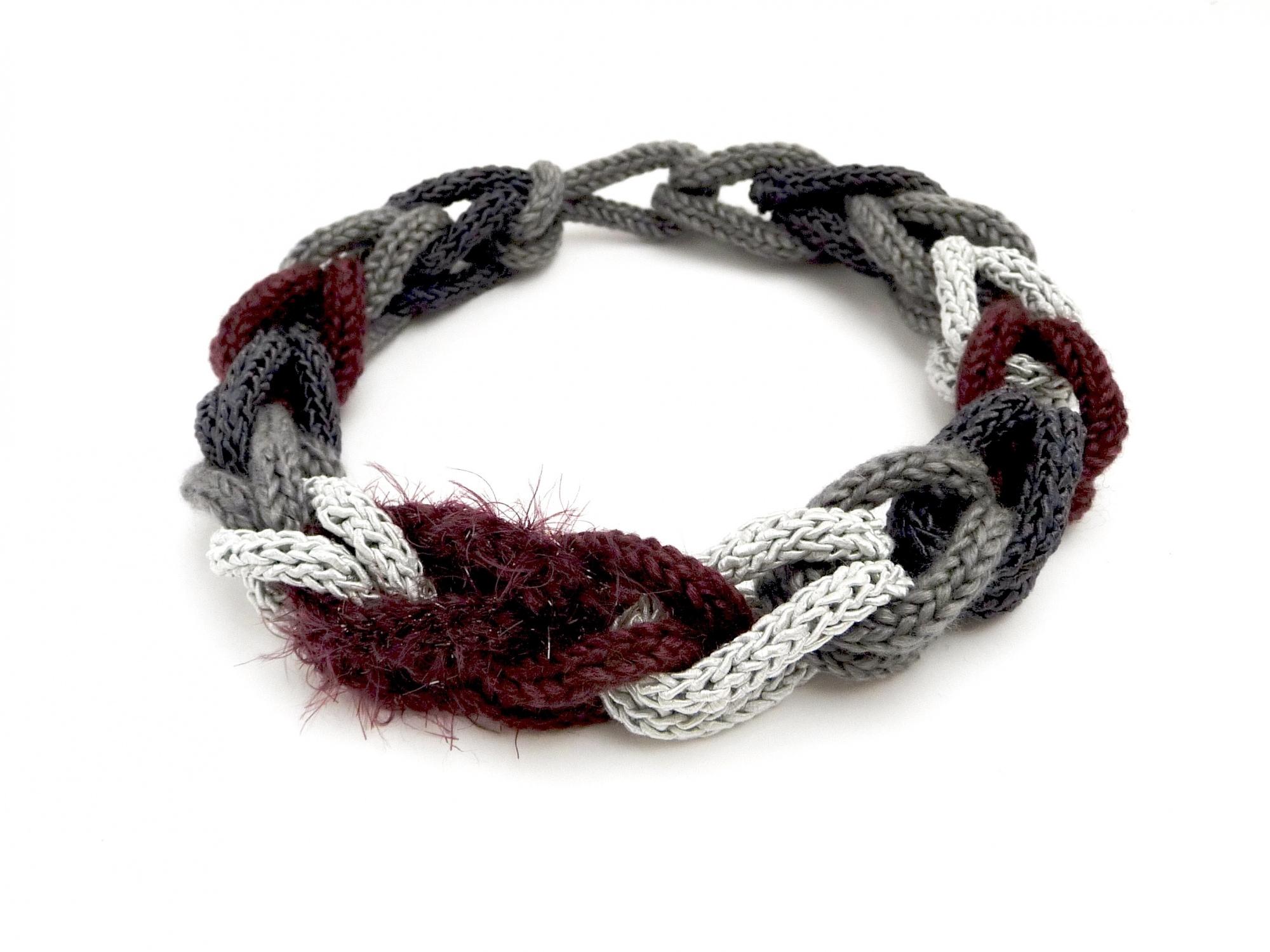 - Halskette Flechtwerk Weinrot Grau Seide Boa Handmade Unikat - Halskette Flechtwerk Weinrot Grau Seide Boa Handmade Unikat