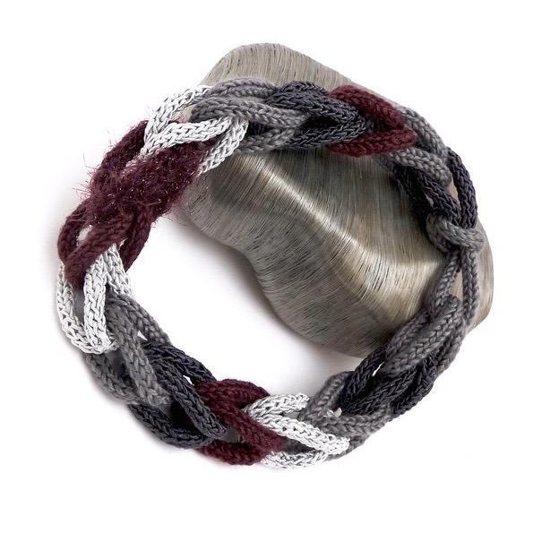 Kleinesbild - Halskette Flechtwerk Weinrot Grau Seide Boa Handmade Unikat