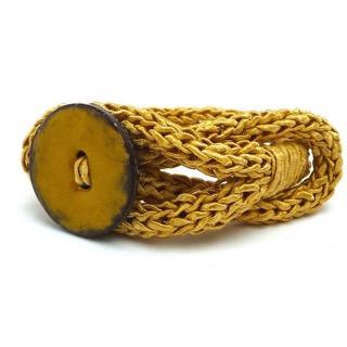 - Armband Knopf Gewürzfarbe Curry Trend Strickschmuck Armreif - Armband Knopf Gewürzfarbe Curry Trend Strickschmuck Armreif