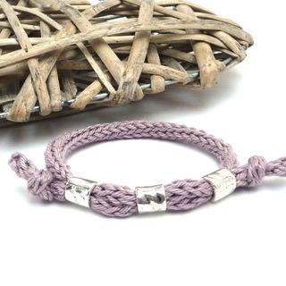 - Armband Rosa Silber Trend Strickschmuck Baumwolle - Armband Rosa Silber Trend Strickschmuck Baumwolle