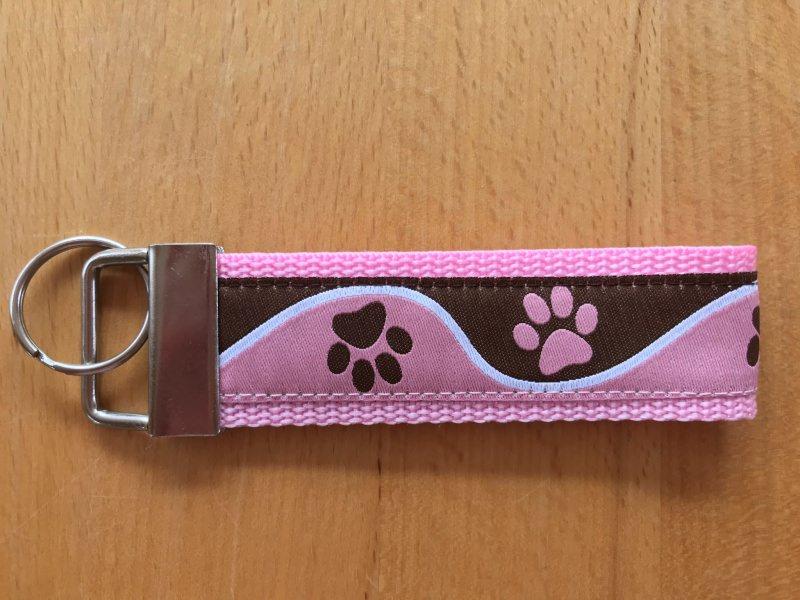 Kleinesbild - Schlüsselanhänger Pfote rosa-braun