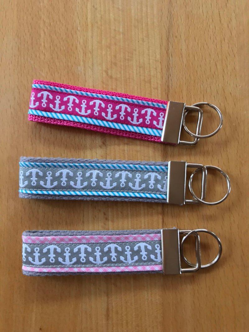 Kleinesbild - Schlüsselanhänger Anker Pastell rosa/grau