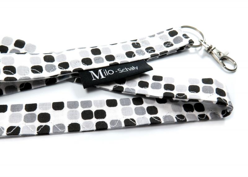 - Milo-Schaly Schlüsselband lang mit Karabiner Stoff Schlüsselanhänger weiß schwarz grau - Milo-Schaly Schlüsselband lang mit Karabiner Stoff Schlüsselanhänger weiß schwarz grau