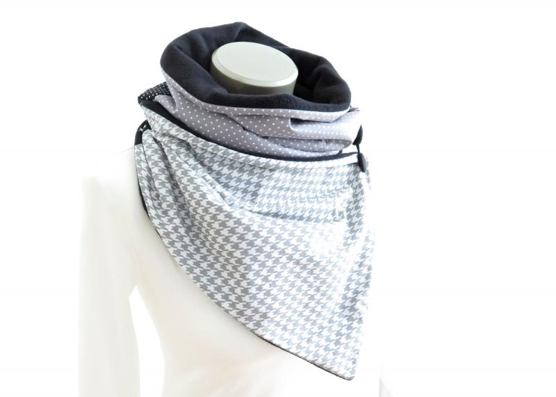 Kleinesbild - Milo-Schaly Wickelschal mit Knopf Damen Hahnentritt Schal Fleece grau weiß Knopfschal (Kopie id: 100241841)