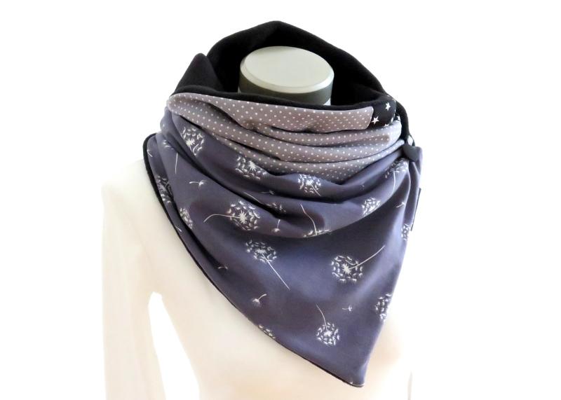Kleinesbild - Milo-Schaly Wickelschal mit Knopf Damen Pusteblume Schal Fleece grau Knopfschal
