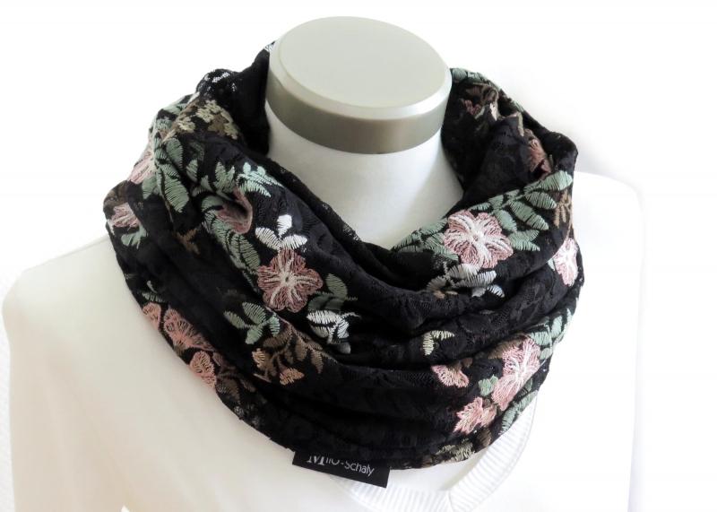 Kleinesbild - Milo-Schaly Loop aus schwarzer Spitze mit Blumen Schlauchschal Damen