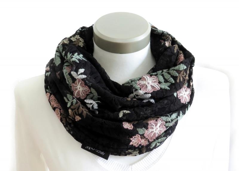 - Milo-Schaly Loop aus schwarzer Spitze mit Blumen Schlauchschal Damen  - Milo-Schaly Loop aus schwarzer Spitze mit Blumen Schlauchschal Damen