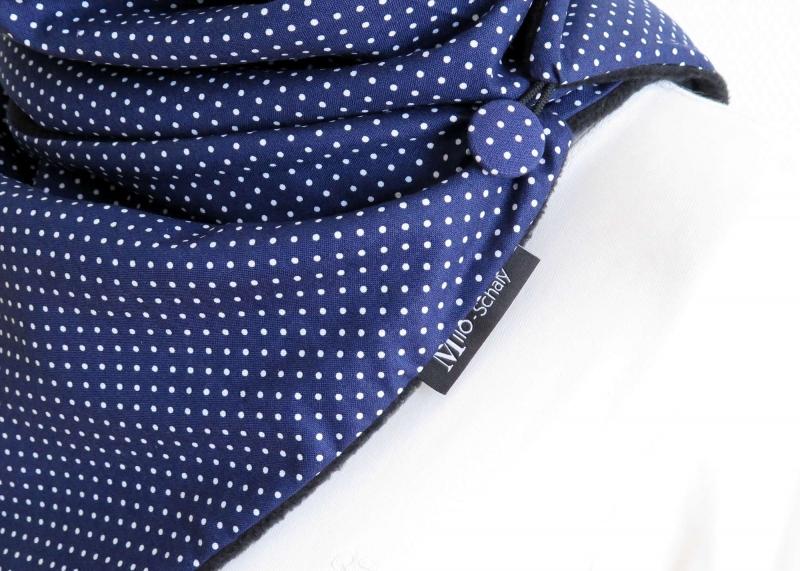 Kleinesbild - Milo-Schaly Wickelschal mit Knopf Punkte blau-weiß  Damen Schal Fleece Knopfschal (Kopie id: 100241841) (Kopie id: 100241845) (Kopie id: 100241851) (Kopie id: 10024185 (Kopie id