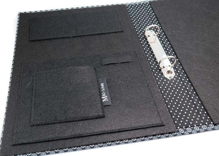 Kleinesbild - Milo-Schaly Organizer DIN A4 Schreibmappe Blümchen Ordner Ringbuchordner Ringbuch Filz vegan schwarz-weiß