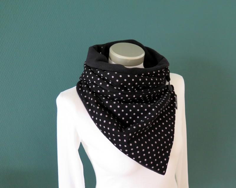 Kleinesbild - Milo-Schaly Schal mit Knopf Wickelschal Feincord Fleece Kuschelschal Punkte schwarz grau
