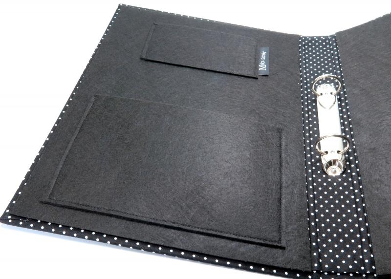 Kleinesbild - Milo-Schaly  Organizer DIN A4 Schreibmappe Punkte schwarz Ordner Ringbuchordner Ringbuch Filz vegan Rezeptordner