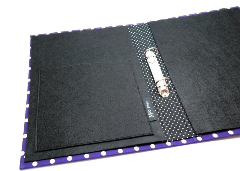 Kleinesbild - Milo-Schaly  Organizer A4 Schreibmappe Ordner Ringbuch lila weiß dots Ringbuchordner Punkte Filz vegan B-Ware