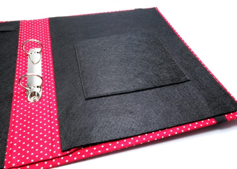 Kleinesbild - Milo-Schaly  Organizer DIN A4 Schreibmappe Ordner Ringbuchordner Ringbuch Punkte rot-weiß dots Filz vegan B-Ware