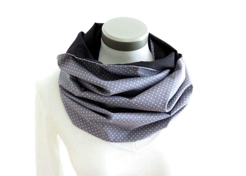 Kleinesbild - Milo-Schaly Loop Schal Damen Baumwolle Punkte grau weiß Loopschal Wendeschal