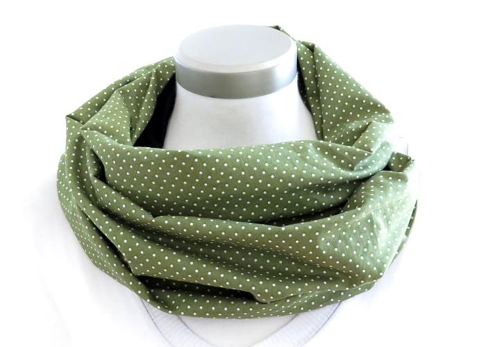 Kleinesbild - Milo-Schaly Loop Schal Damen Baumwolle Punkte grün weiß Loopschal Wendeschal (Kopie id: 100242780)