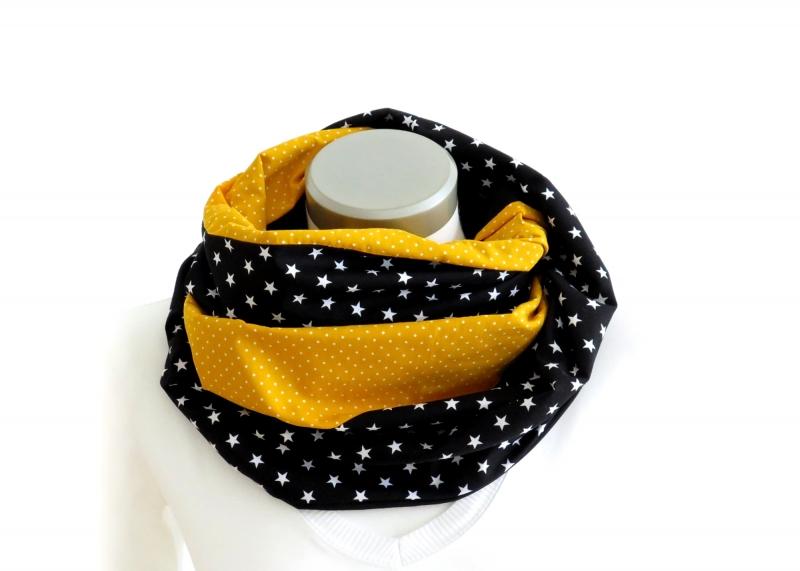 Kleinesbild - Milo-Schaly   XXL Loop Stillschal extrabreit Schlauchschal Baumwolle Sterne Punkte gelb schwarz