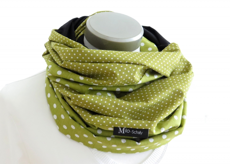Kleinesbild - Milo-Schaly XXL Loop Stillschal extrabreit Schlauchschal Baumwolle Punkte Tupfen grün-weiß