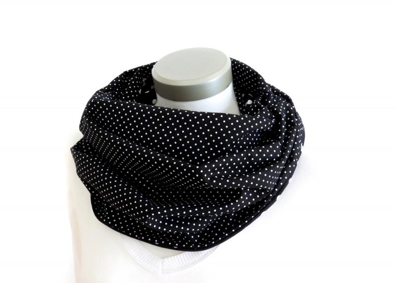 Kleinesbild - Milo-Schaly  Schlauchschal Baumwolle Loop Damen Tupfen + Punkte Wendeloop schwarz weiß